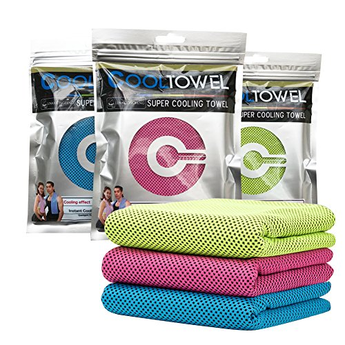 "Cooling Towel Evaporative Microfiber Towel Instant Relief Quick Try Ice Towel - Perfect for Yoga Golf Pilates Camping Fitness Running Gym 40""x12"" Blue"