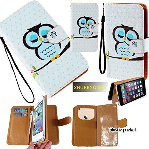 Universal PU Leather Purse/Clutch/Pouch/Wallet Fits Apple Samsung LG Motorola etc. Women's Cute Wristlet Strap Flip Case Owl in A Nap - Small. Fits The Models Below: (Wallet Phone Cases For Htc One Sv)