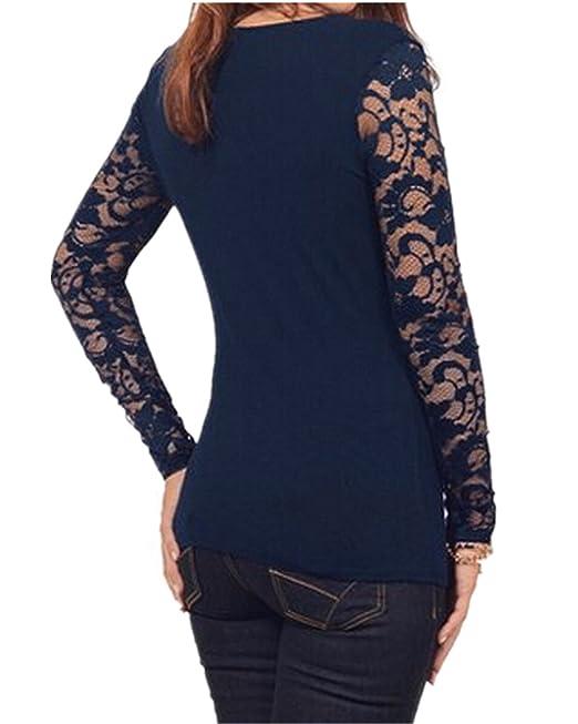 StyleDome Blusa Camiseta Casual Elegante Verano Algodón Encaje Cuello V para Mujer Gordita: Amazon.es: Ropa y accesorios