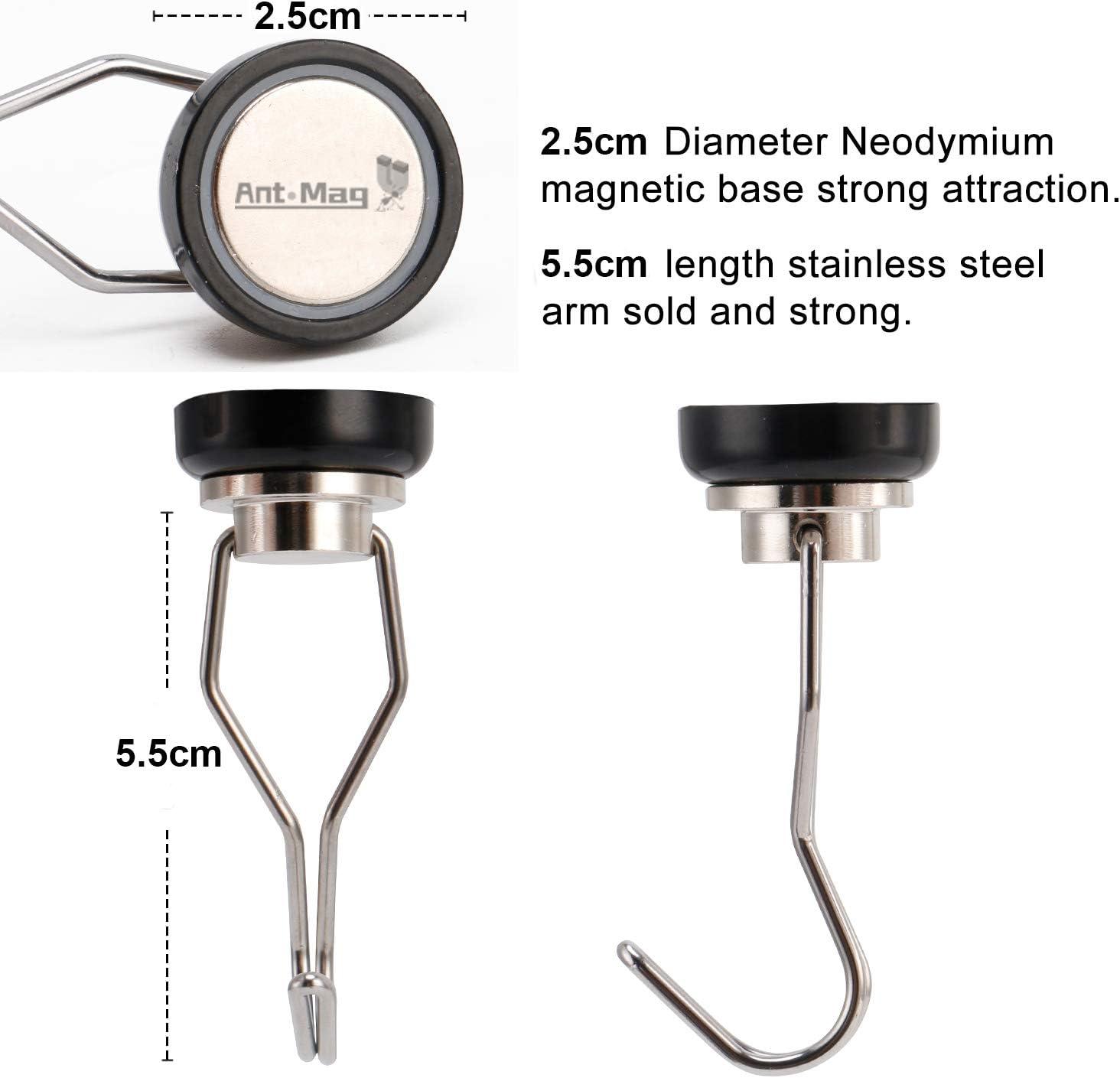 Magnetischer Haken aus Neodym Magnet Bunt Drehbar Rostfrei Starke Haftkraft Max Silber 22kg Ant Mag 4 St/ück Magnethaken 25mm