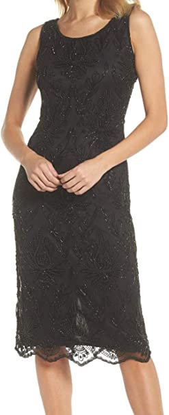Pisarro Nights Damen Middy Boat Neck Dress With Pearl Motif Kleid Fur Besondere Anlasse Schwarz 44 Amazon De Bekleidung