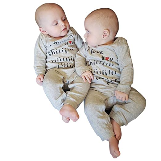 7879923466721 Minisoya Twins Costume 2Pcs Newborn Baby Boys Girls Romper Letters Printed  Playsuit Jumpsuit Hat Outfits Clothes