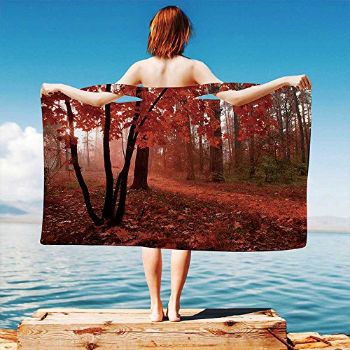 - iPrint Fall Quick Dry Plush Microfiber (Towel+Square Scarf+Bath Towel) Misty Forest with Leaves from Deciduous Seasonal Trees Warm to Cold Featured Image Decorative and Adapt to Any Place