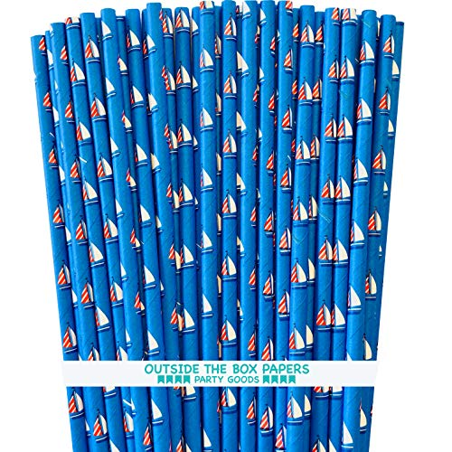 - Sailboat Nautical Themed Paper Straws - Red White Blue - 100 Pack