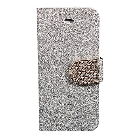SODIAL(R) Silver Crystal Diamond Glitter Bling Flip Magnetic Leather Stand Wallet Card Case Cover For Apple iPhone 5 (Flip Cover Iphone 5 Bling)