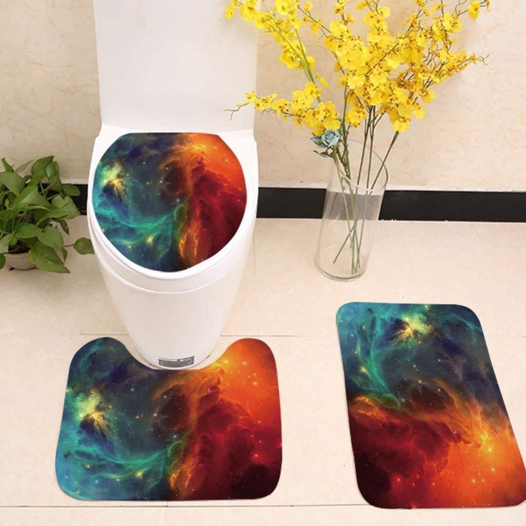 Toilet Cushion Bathroom mat Three-Piece Bathroom Toilet Galaxy Whirlpool Space Star Anti-Slip Mat Three-Piece Toilet seat (Color : #5)