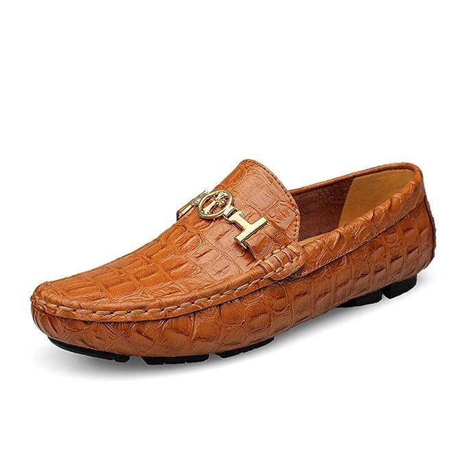 Verano de conducción de lujo transpirable de cuero genuino Pisos Mocasines Zapatos de los hombres de moda casual Slip: Amazon.es: Ropa y accesorios