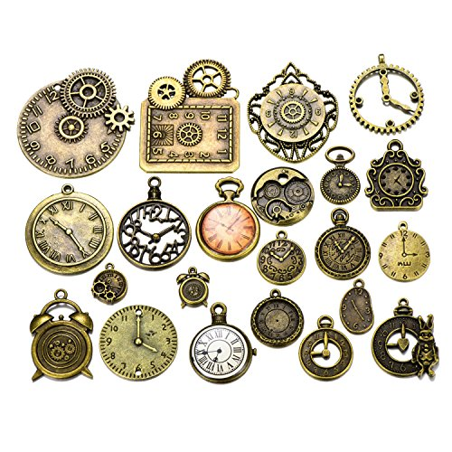 (20pcs Mixed Antique Bronze Steampunk Gears Clock Face Charm Pendant for Necklace Bracelet DIY Jewelry Making)