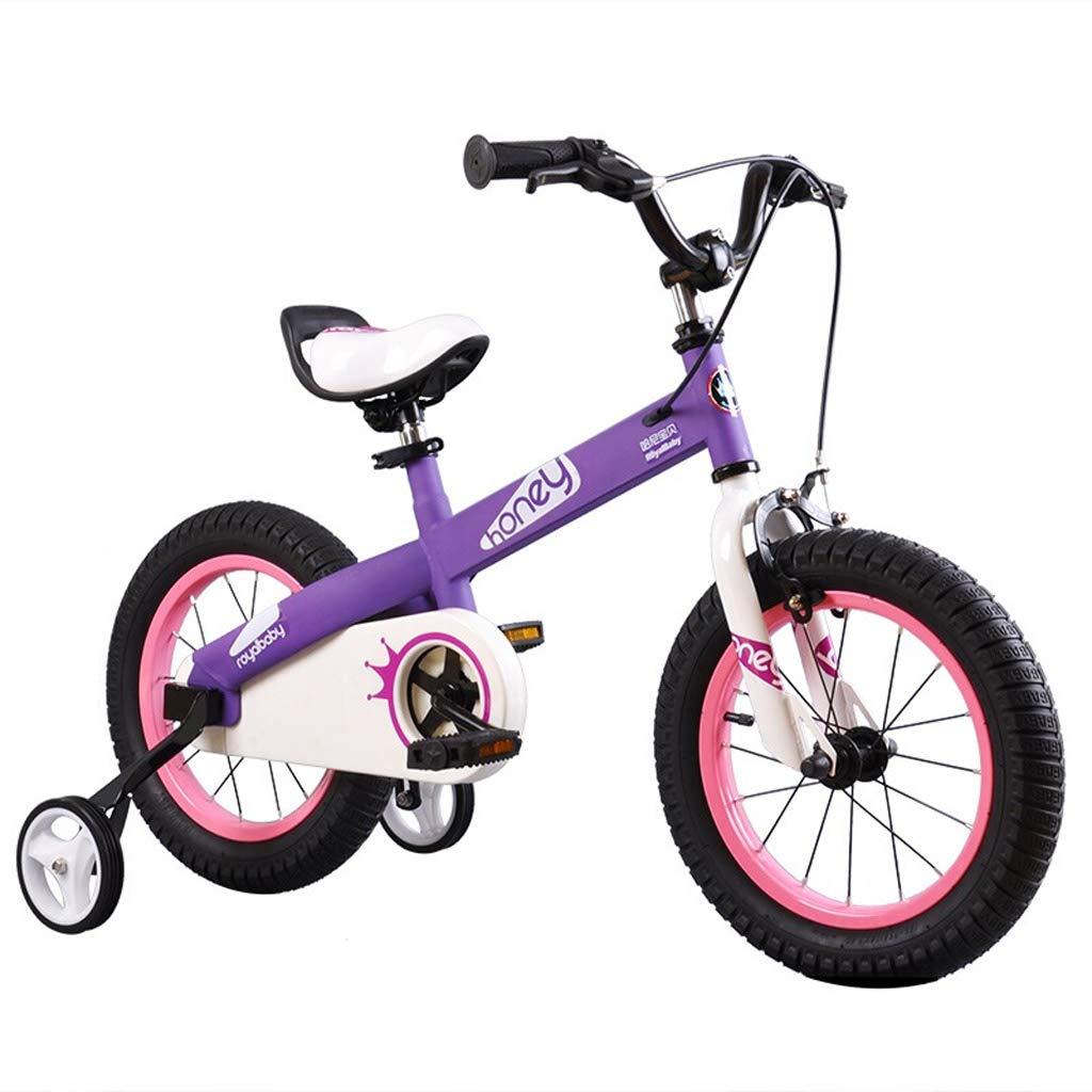 Minmin-chezi 子供用 自転車 男の子 女の子 ベビーキャリア マウンテンバイク 3-7歳 ベビーバイク 14インチ ブルー  パープル B07L79VG57