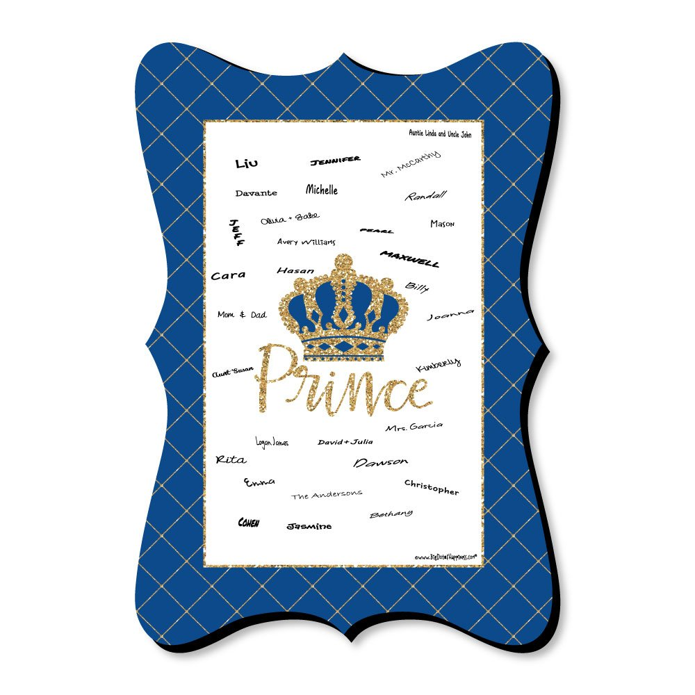 Big Dot of Happiness Royal Prince Charming - Unique Alternative Guest Book - Baby Shower or Birthday Party Signature Mat