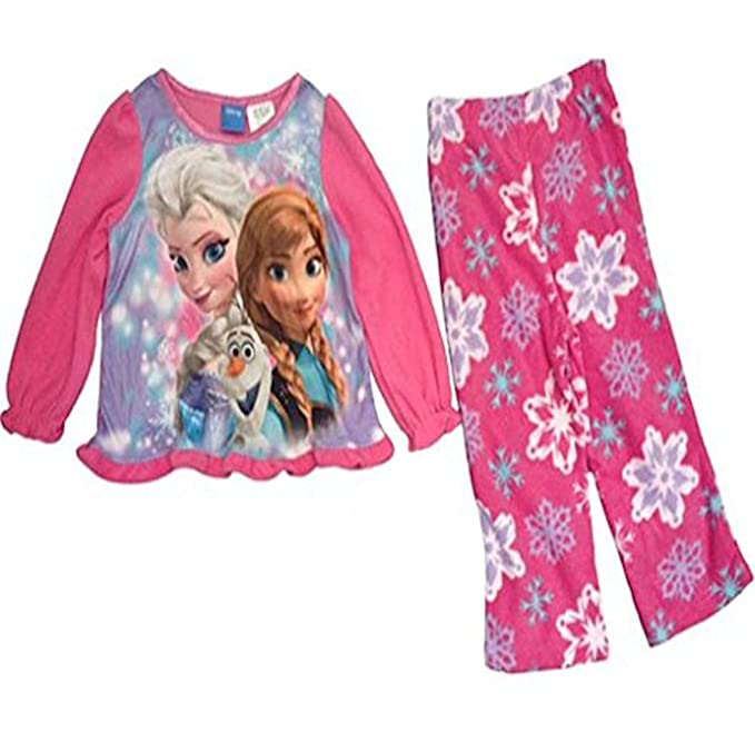 72956807b Amazon.com  Disney Frozen Elsa Anna   Olaf Pink Fleece Pajama Set ...