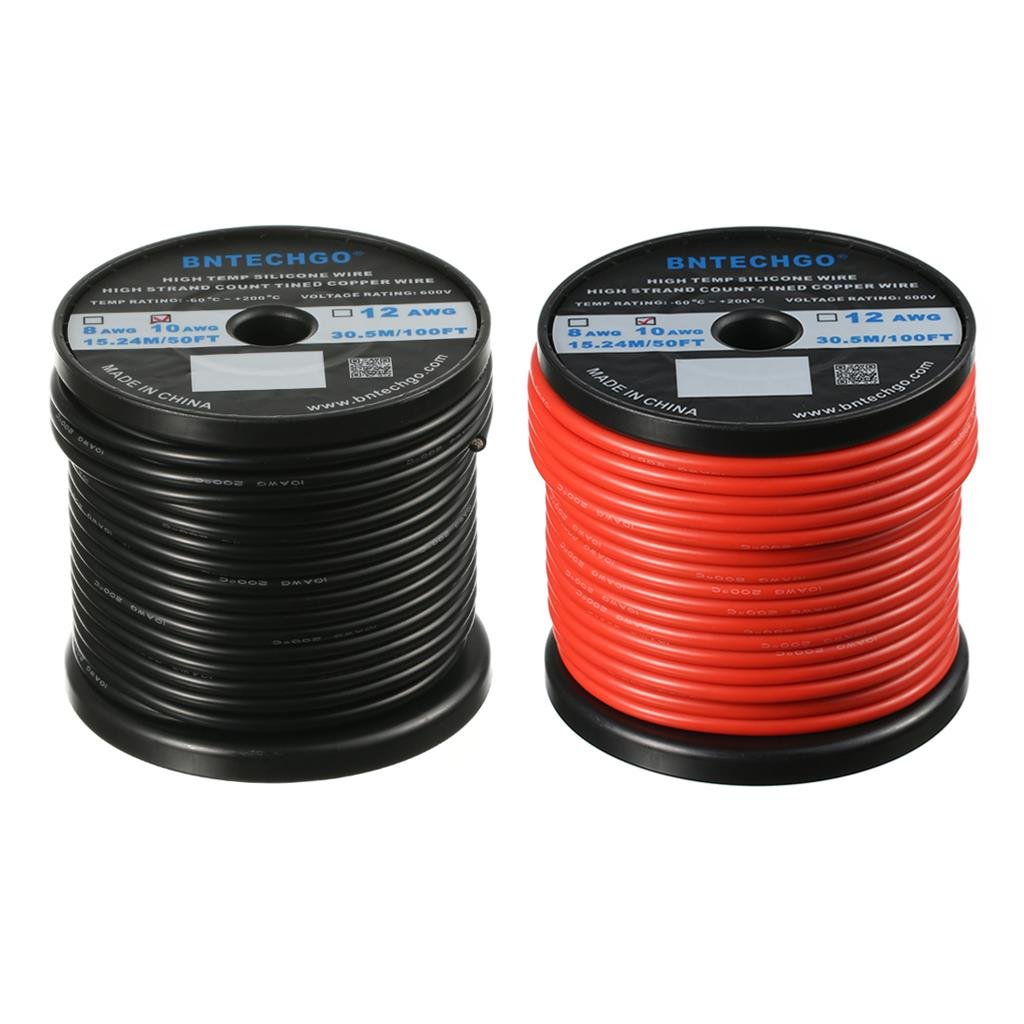 Bntechgo 10 Gauge Silicone Wire 50 Feet Ultra Flexible High Temp 200 China Electric Electrical Copper Wires Deg C 600v 10awg Rubber 1050 Strands Of Tinned Stranded