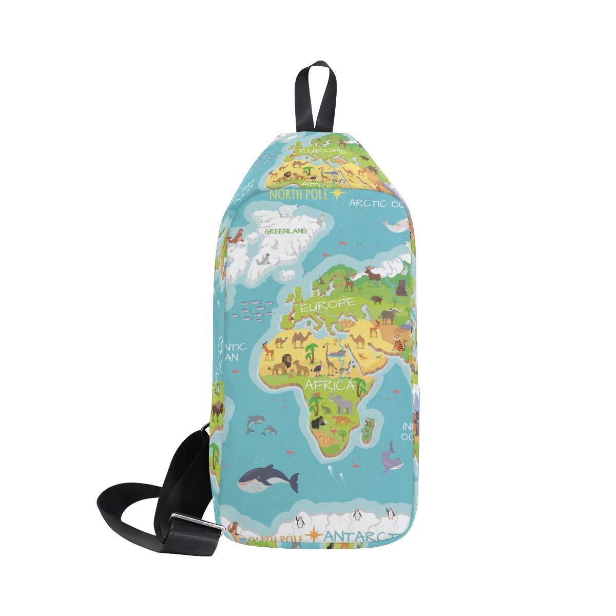 AHOMY World Map Flora Animal Ocean Messenger Bag Small Travel School Sling Bag Crossbody Bag