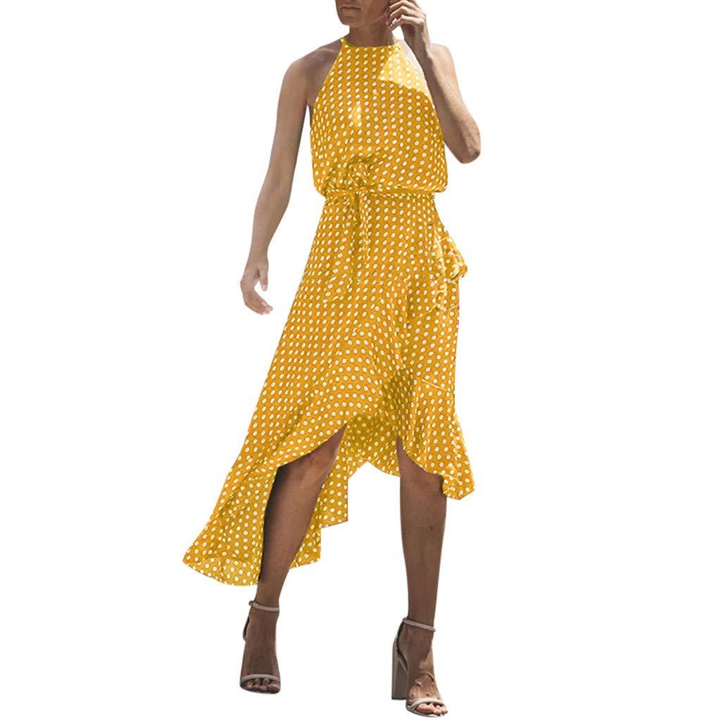 Challyhope Womens Summer Beach Dress Sleeveless Reffles Polka Dot Irregular Casual Holiday Ladies Halter Dresses (XXXL, Yellow)
