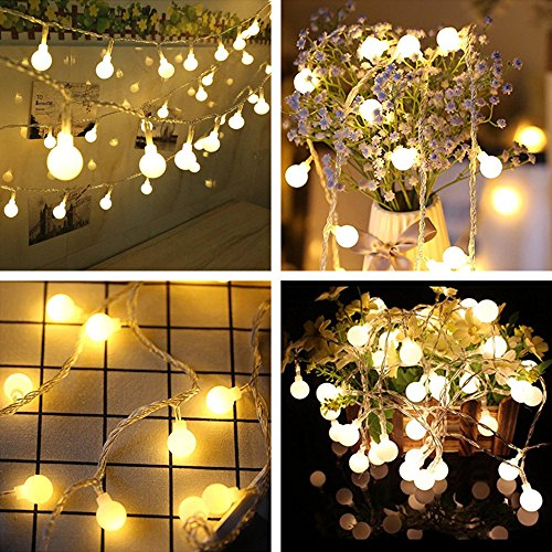 Round White Christmas Lights - Solar String Lights, 26 ft 50 LEDs 8 Modes Waterproof Solar Fairy String Lights Starry String Light for Outdoor Garden Path Home Wedding Party Decoration (100Globe, Warm White1)
