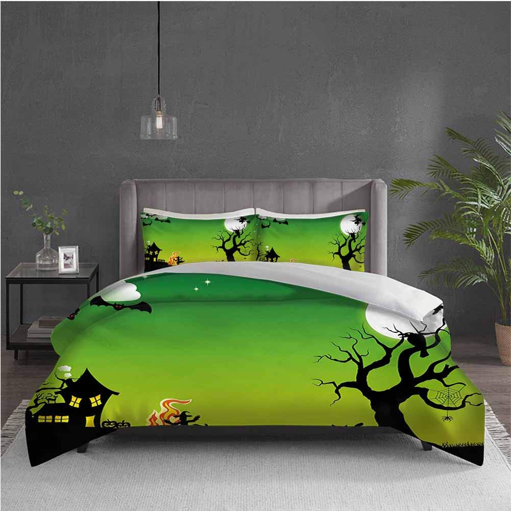 GUUVOR Halloween Pure Bedding Hotel Luxury Bed Linen Witches Dancing with Fire and Flying at Halloween Ancient Western Horror Image Polyester - Soft and Breathable (Queen) Green Black