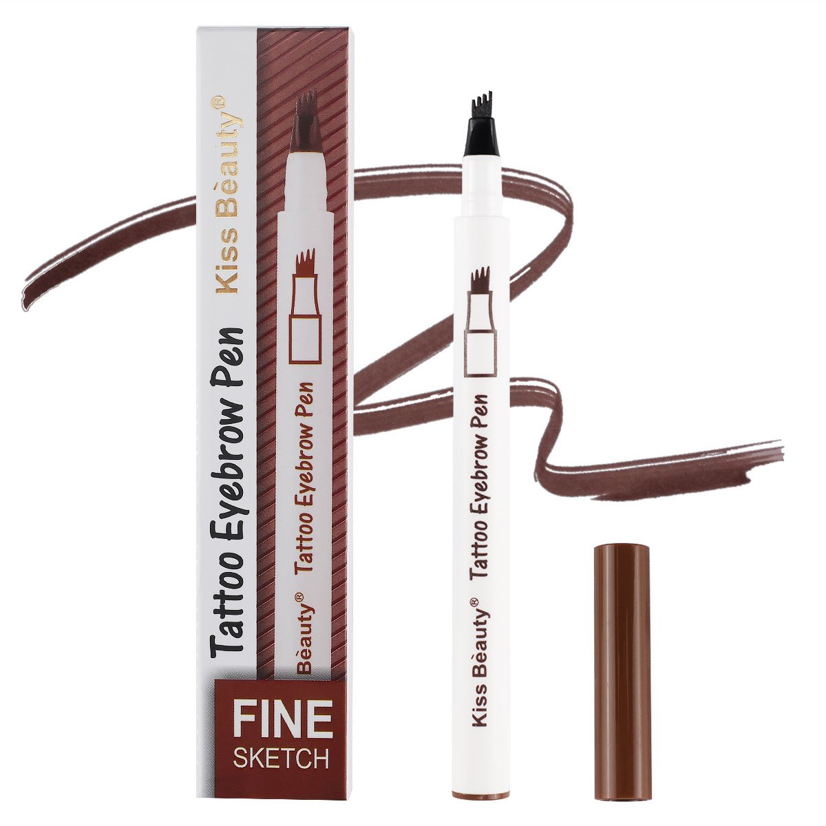 Liquid Eyebrow Pen with Four Tips Tattoo Sense Of Super Duarable,Fine Sketch,Easy To Color, Smudge-proof,Waterproof Brow Gel for Eyes Makeup,(#02 Brown)