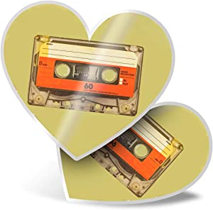 Awesome 2 x Heart Stickers 7.5 cm - Retro Cassette Tape Music Mix Fun Decals for Laptops,Tablets,Luggage,Scrap Booking,Fridges,Cool Gift #14539