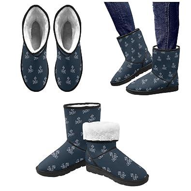 Winter Boots Seamless Chevron Anchor Navy Blue Custom Women's Snow Boots