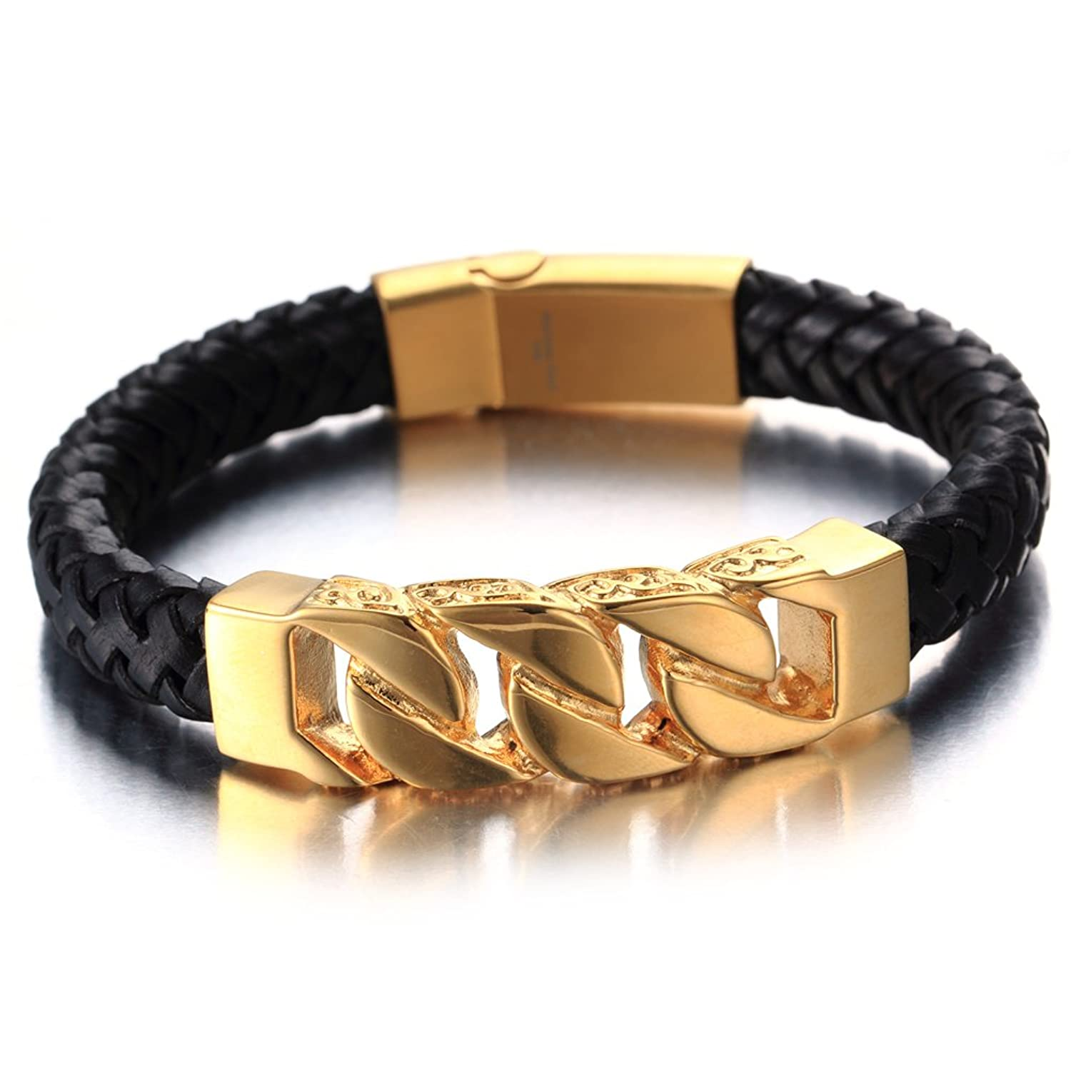 d260f71cc51 Minimalist Black Gold Braided Leather Bracelet Mens Womens Curb Cuban  Genuine Leather Bangle Wristband