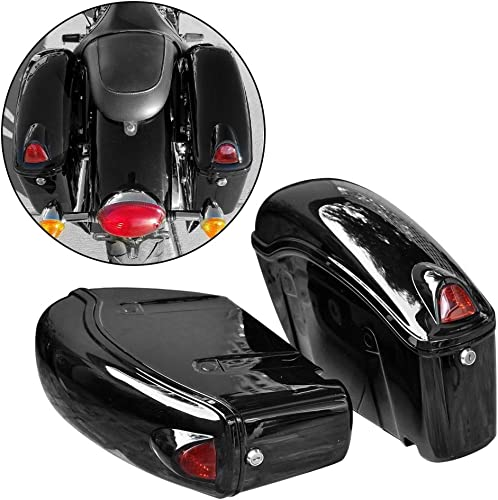 FY Black Hard Saddle Bag Trunk Luggage w/Lights for Honda Motorcycle Cruiser