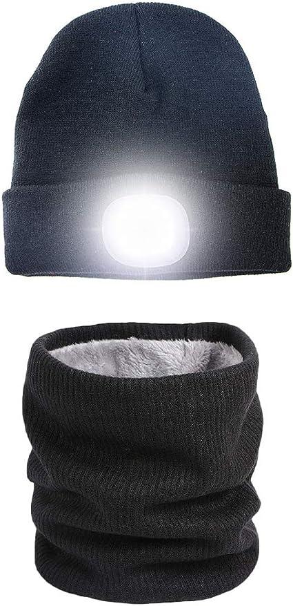 Haorw LED Beleuchtete M/ütze Beanie USB Wiederaufladbare Unisex Strickm/ütze Mit Licht F/ür Jogging Camping Radfahren Grillen