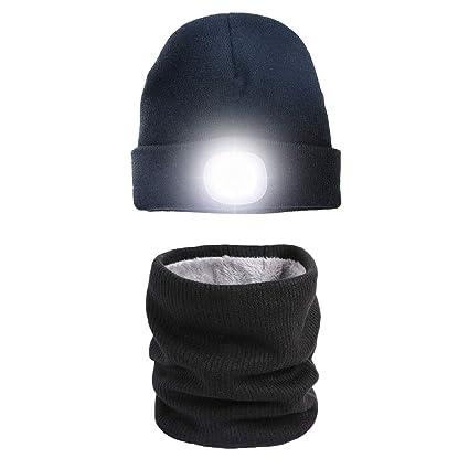 Gorra con luces LED brillantes recargables para la caza, acampada ...