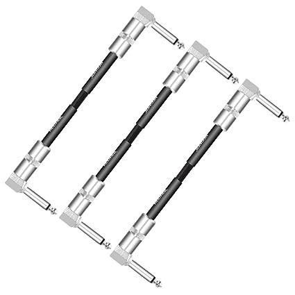 Neewer Cable de conexión para Guitarra de 3 Paquetes con Clavijas de Angulo Recto de 1