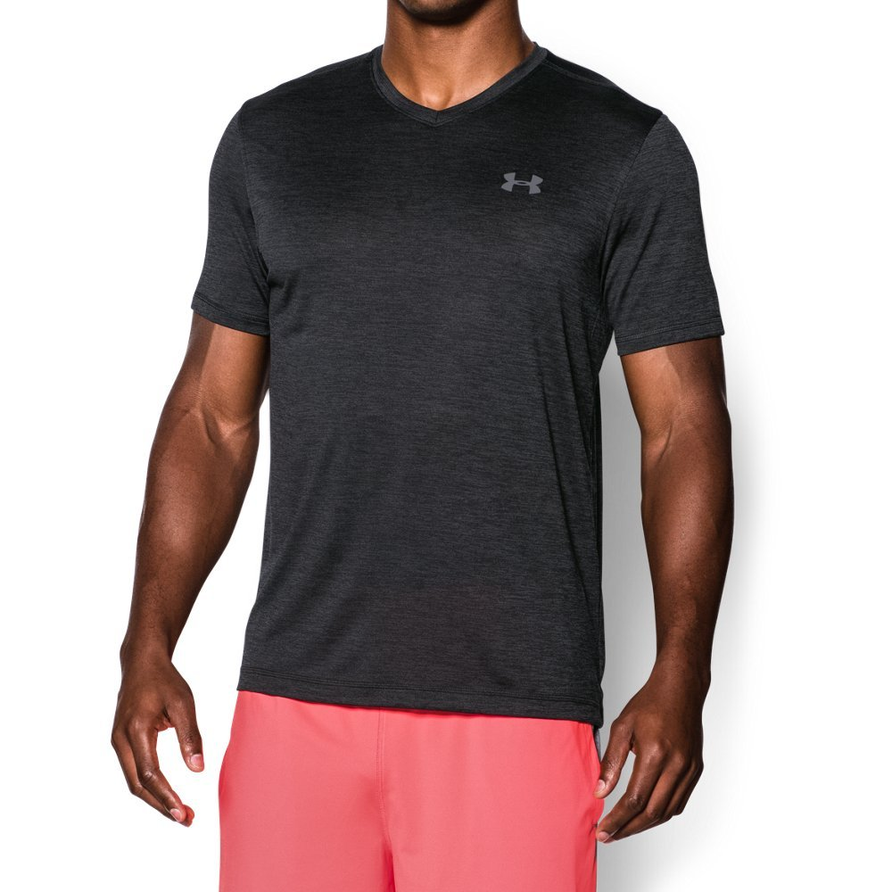 Under Armour Men's Tech V-Neck Short Sleeve T-Shirt, Black/Steel, Large by Under Armour