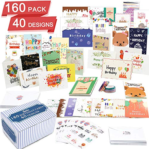 Birthday Card, 160 Pack 40 Designs Happy Birthday Card Assorted Bulk with 160 Blank Envelopes 14 Pieces of Sticker Sheets 6 Washi Tapes, Feela 4 X 6 Inches Greeting Cards For Family Friends Coworkers