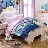 YOYOMALL 2015 New! Home Textiles Pink Polka Dot Black Cat Duvet Cover Set,Kids Cotton Sheet Sets 4Pcs Twin Queen King Size. (Queen, Flat sheet style)