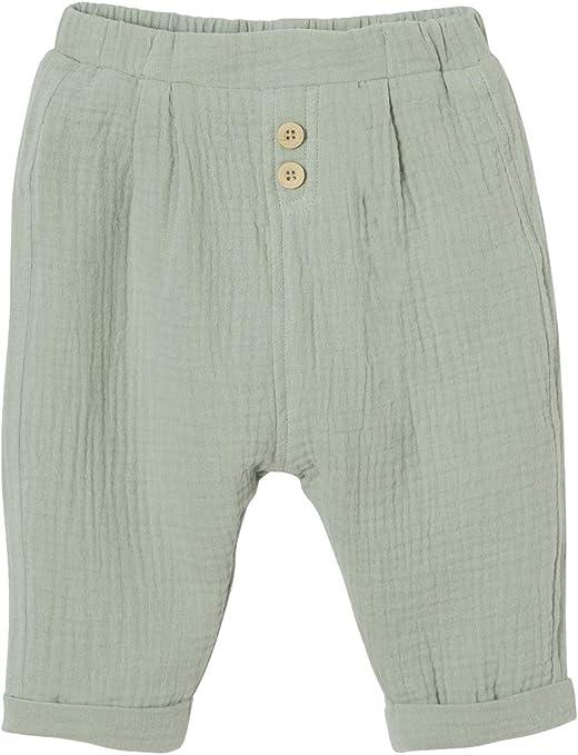 VERTBAUDET Pantalón Corte árabe de Gasa de algodón bebé niño Verde Claro Liso 9M-71CM: Amazon.es: Bebé