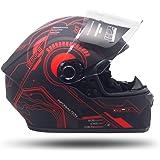CASCO Motocicleta COMPLETO INTEGRAL Marca EDGE - HUB EG500 - Cerrado Visor ANTIVAHO Certificado DOT Moto (Rojo, S)