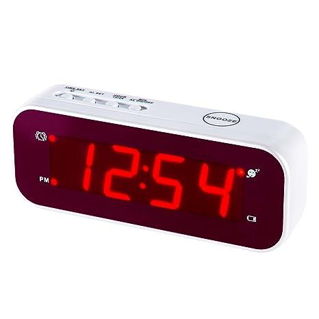 Reloj despertador LED Timegyro de fácil configuración y con batería solo grandes dígitos rojos para dormitorio