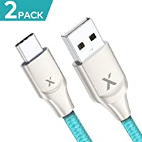 2-Pack Xcentz 6-Feet USB Type C Nylon Braided Fast Charging Cable
