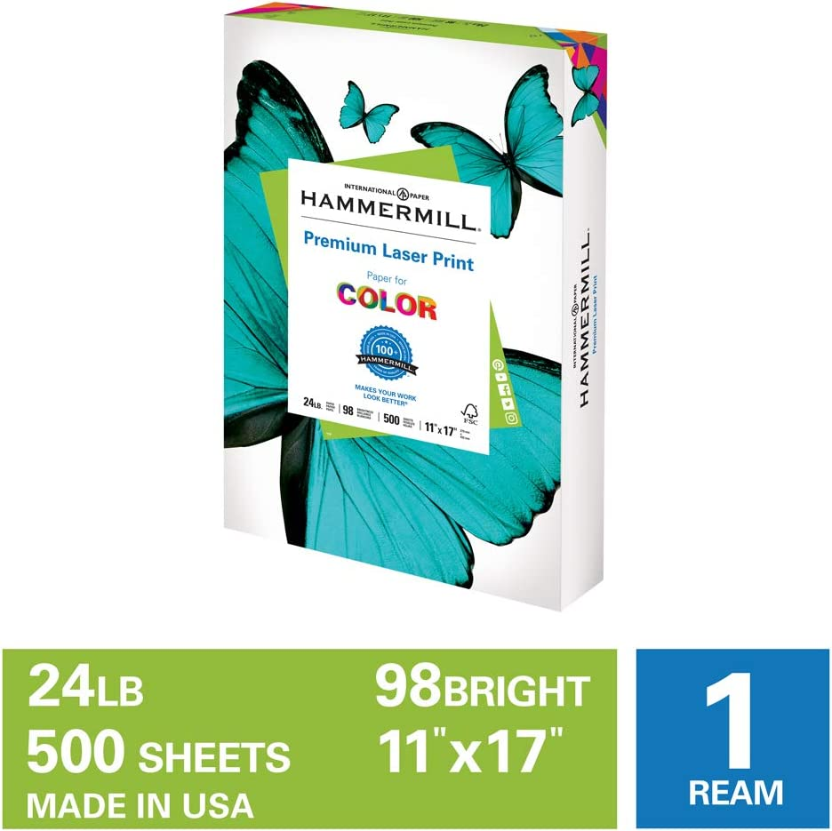 Hammermill Premium Laser Print 24lb Copy Paper, 11x17, 1 Ream, 500 Sheets, Made in USA, Sustainably Sourced From American Family Tree Farms, 98 Bright, Acid Free, Premium Laser Printer Paper, 104620R