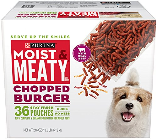 Purina Moist & Meaty Dog Food, Chopped Burger, 216-Ounce Box, Pack of 1