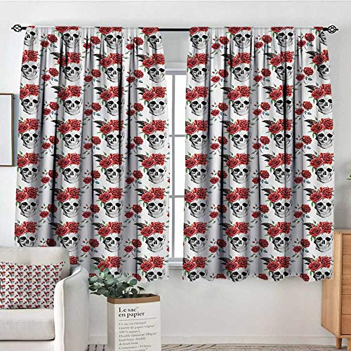 Mozenou Rose Custom Curtains Watercolor Art Style Skull with Red Roses and Buds Gothic Halloween Pattern Thermal Blackout Curtains 55