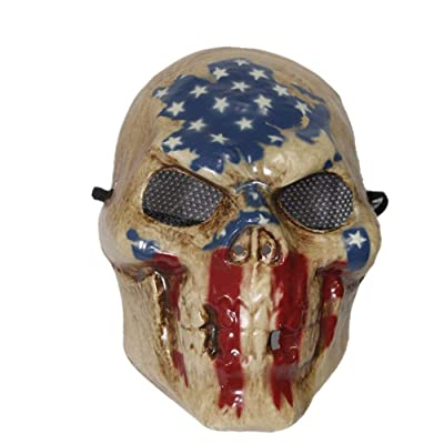 The Rubber Plantation TM 619219292177 The Purge Election Year Skull Mask with USA Flag Print Halloween Costume Skeleton Fancy Dress, Unisex-Adult, One Size: Toys & Games