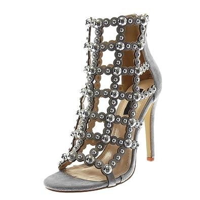 Angkorly Damen Schuhe Pumpe - Slip-on - Stiletto - Plateauschuhe - Perle - Nieten - Besetzt Stiletto High Heel...