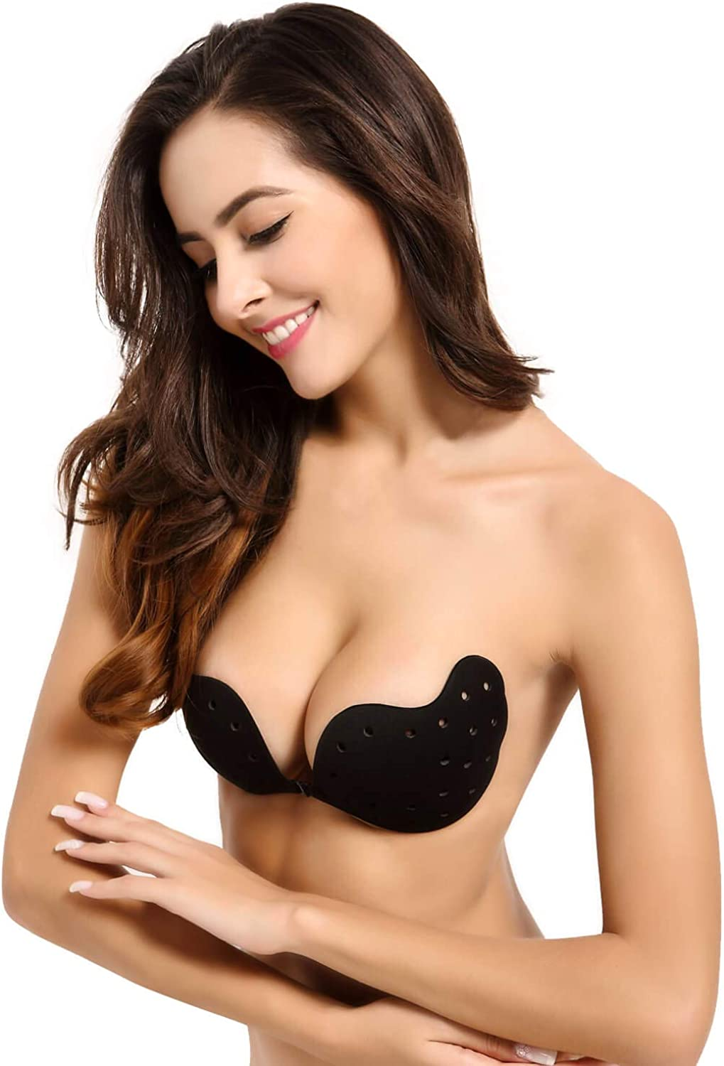 MIMEIMIAI Strapless Bra Stick On Bra Invisible Push Up Backless Sticky Adhesive Bras Reusable for Women with Nipple Covers