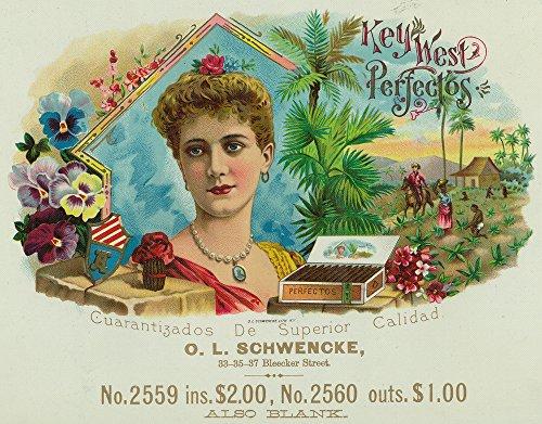Key West Perfectos Brand Cigar Inner Box Label (9x12 Art Print, Wall Decor Travel ()