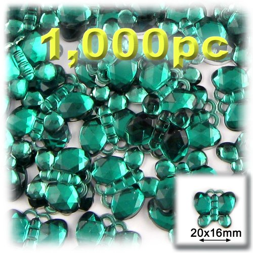 20mm Peridot Emerald - The Crafts Outlet 1000-Piece Flat Back Butterfly Shaped Rhinestones, 20mm, Emerald Green