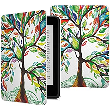 MoKo Case for Kindle Paperwhite, Premium Thinnest and Lightest PU Leather Cover with Auto Wake/Sleep for Amazon All-New Kindle Paperwhite (Fits 2012, 2013, 2015 and 2016 Versions), Lucky TREE
