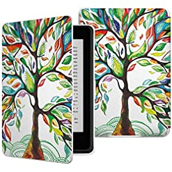 MoKo Kindle Paperwhite Case, Premium Thinnest and Lightest PU Leather Cover with Auto Wake / Sleep for Amazon All-New Kindle Paperwhite (Fits All 2012, 2013, 2015 and 2016 Versions), Will not fit All-New Paperwhite 10th Generation 2018, Lucky TREE