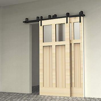 243cm(8FT) Kit de guía para puerta corredera Bypass Ferretería Polea de Rail suspendida sistema de puerta interiores en madera granero armario cuarto de, negro: Amazon.es: Bricolaje y herramientas