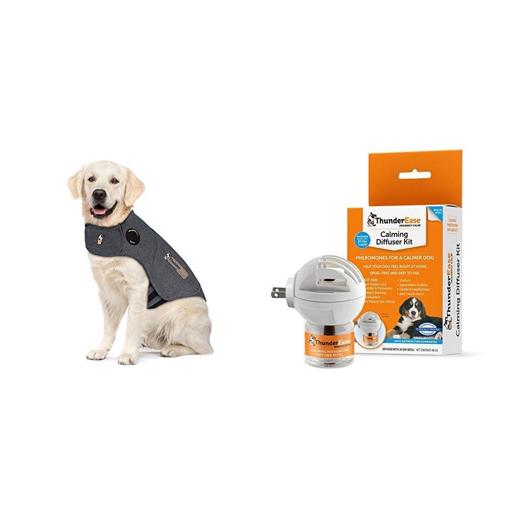 Thundershirt Classic Dog Anxiety Jacket and ThunderEase Calming Diffuser Kit Bundle, X-Large
