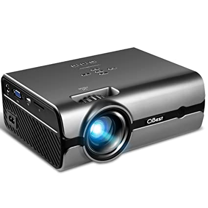 "Review Video Projector, CiBest +80% Lumens 4Inch Mini Projector with 170"" Display - 30,000 Hour LED Video Projector Support 1080P, Compatible with HDMI, VGA, USB, AV, SD for Home Theater"