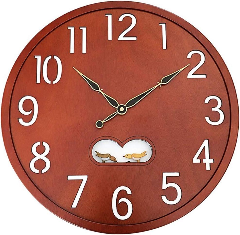 &掛け時計 壁時計電池式非刻々と過ぎサイレントクォーツクリエイティブ鳥の装飾ベッドルームリビングルーム北欧のビッグナンバーウッド時計ブラウン16インチ &ホームクロック