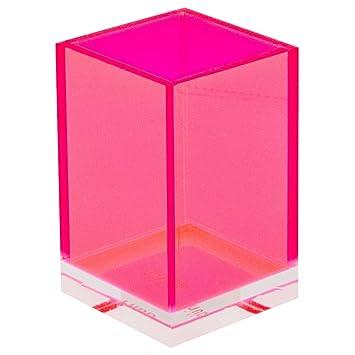 Lund London Neón rosa acrílico bote de almacenamiento con base de transparente para cepillos de dientes o cosméticos: Amazon.es: Hogar